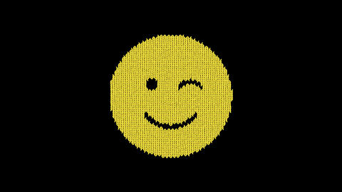 Symbol smile wink is knitted from a woolen thread. Knit like a sweater Animation