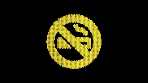 Symbol smoking ban is knitted from a woolen thread. Knit like a sweater Animation