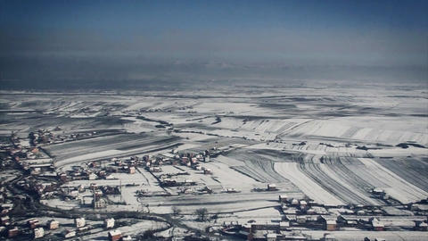 landing approach in wintertime in the airport of Prishtina, Kosovo Footage