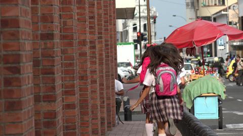 Female Students Running On Sidewalk Stock Video Footage