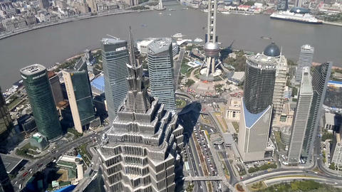 Shanghai cityscape overlooking the Financial District and Huangpu River, China Footage