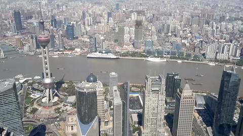Shanghai cityscape overlooking the Financial District and Huangpu River, China Live Action