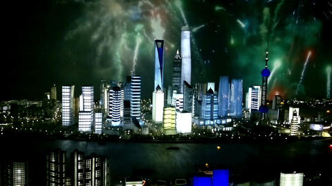 Cityscape of modern city with fireworks, Shanghai, China Footage