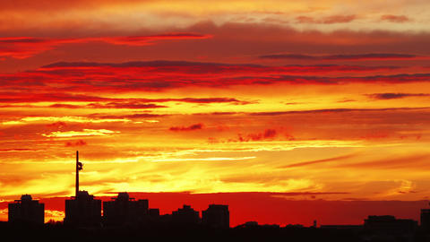 Timelapse of a colorful sunset in Moscow Footage