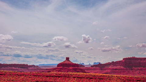 Time Lapse - Cloudscape Moving Over Butte at Monument Valley Live Action