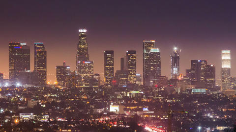 Time Lapse - Los Angeles Downtown at night Footage