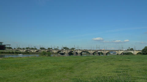 Timelapse of Old Mary's Bridge in Dresden, Germany, Europe Footage