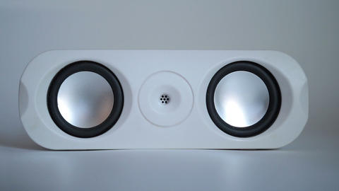 Closeup of set of round audio speakers isolated Footage