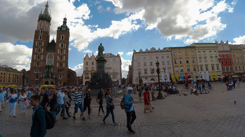 Market Square in Krakow. Old city. Poland. 4K Live Action