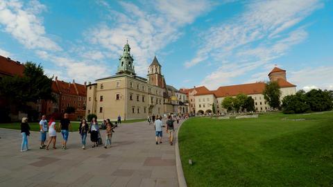 Wawel cathedral on Wawel Hill in Krakow, Poland. 4K Footage