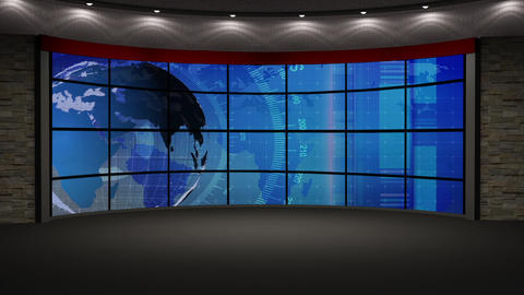 News TV Studio Set 213- Virtual Green Screen Background Loop Footage