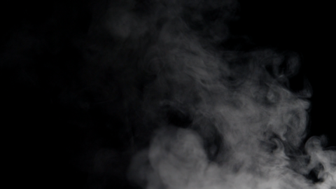White smoke floating on black background 실사 촬영