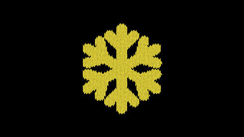 Symbol snowflake is knitted from a woolen thread. Knit like a sweater Animation