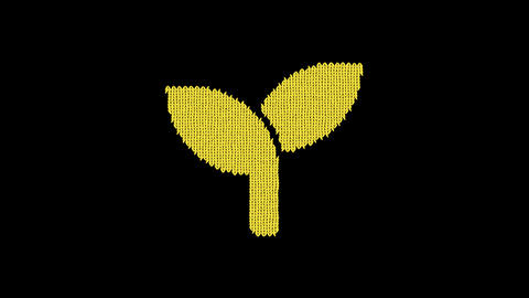 Symbol seedling is knitted from a woolen thread. Knit like a sweater Animation