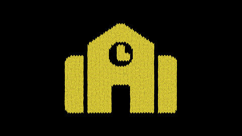 Symbol town hall is knitted from a woolen thread. Knit like a sweater Animation