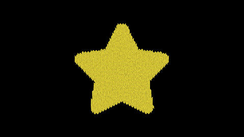 Symbol star is knitted from a woolen thread. Knit like a sweater Animation