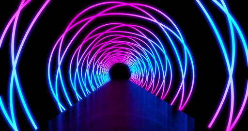 Neon light paths in a circle show an abstract tunnel - 4k loop Animation