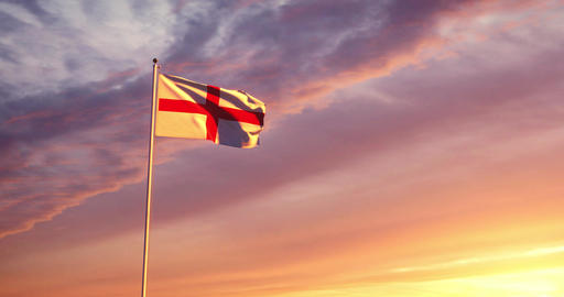 England flag waving represents the United Kingdom and British nationality - 4K Animation