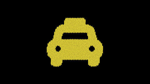 Symbol taxi is knitted from a woolen thread. Knit like a sweater Animation