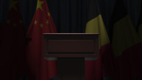 Flags of Belgium and China and tribune, 3D animation GIF