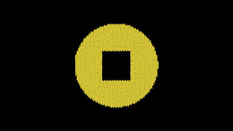 Symbol stop circle is knitted from a woolen thread. Knit like a sweater Animation
