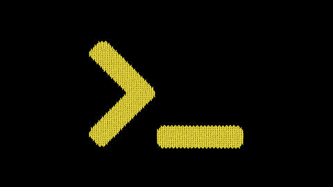 Symbol terminal is knitted from a woolen thread. Knit like a sweater Animation