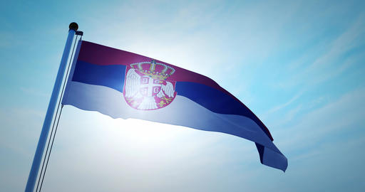 Serbian flag waving shows the Republic of Serbia with its capital Belgravee - 4k Animation