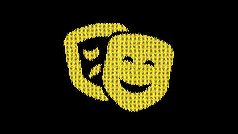 Symbol theater masks is knitted from a woolen thread. Knit like a sweater Animation