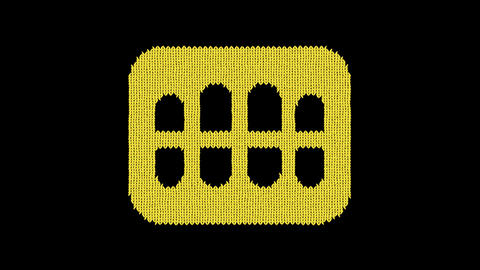 Symbol teeth is knitted from a woolen thread. Knit like a sweater Animation