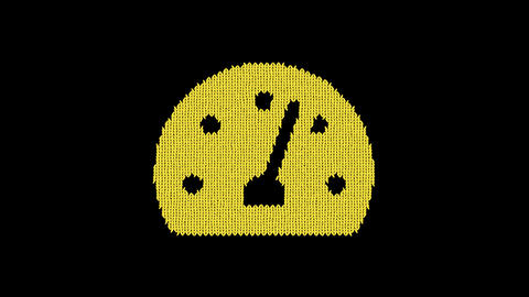 Symbol speedometer is knitted from a woolen thread. Knit like a sweater Animation