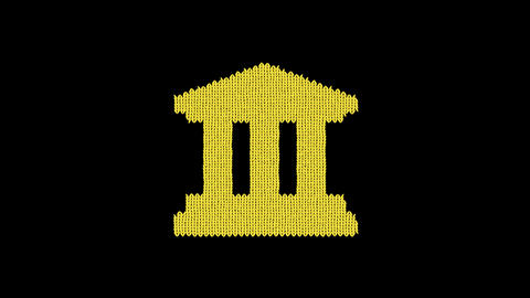 Symbol university is knitted from a woolen thread. Knit like a sweater Animation