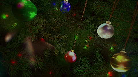 Animated closeup colorful balls and green tree branches on shiny background 애니메이션