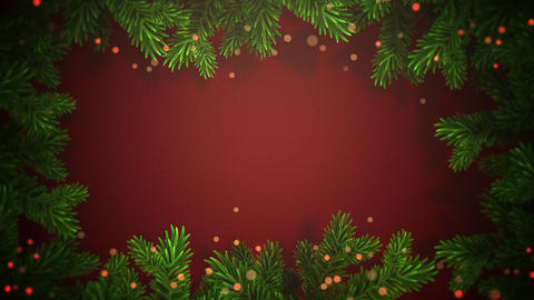Animated closeup abstract bokeh and Christmas green tree branches on red background 애니메이션