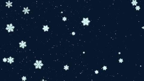 White snowflakes, stars and abstract bokeh particles falling. Happy New Year and Merry Christmas 애니메이션