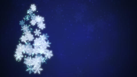 Christmas tree white snowflakes and stars falling. Happy New Year and Merry Christmas shiny Animation