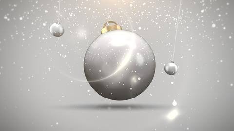 Animated closeup motion balls and snowflakes on white background Animation