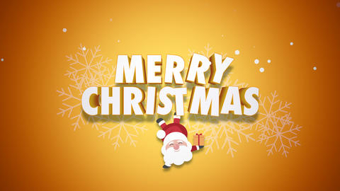 Animated closeup Happy Merry Christmas text and Santa Claus with gift boxes on yellow background 애니메이션