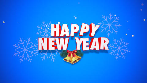 Animated closeup Happy New Year text and bells on blue background 애니메이션