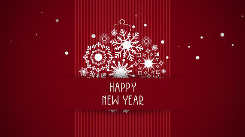 Animated closeup Happy New Year text, white snowflakes on red background 애니메이션