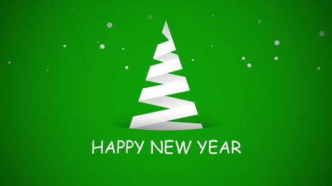 Animated closeup Happy New Year text, white Christmas tree on green background 애니메이션