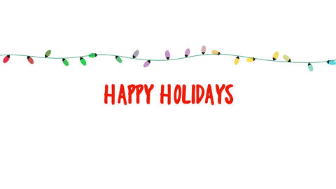 Animated closeup Happy Holidays text, colorful garland on white background 애니메이션