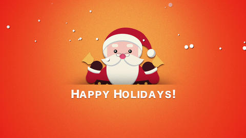 Animated close up Happy Holidays text, Santa Claus with bells 애니메이션