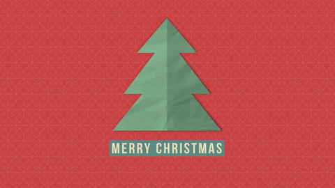 Animated closeup Merry Christmas text, green Christmas tree on red background 애니메이션