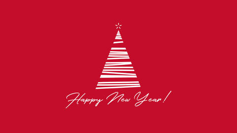 Animated closeup Happy New Year text, white Christmas tree on red background 애니메이션