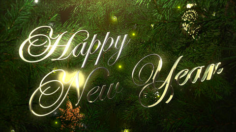 Animated closeup Happy New Year text, colorful balls and green tree branches on shiny background 애니메이션