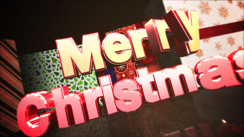 Animated closeup Merry Christmas text, gift boxes in room, wood background 애니메이션