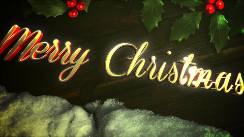 Animated close up Merry Christmas text, white snow and green Christmas branch on wood background Animation