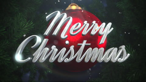 Animated closeup Merry Christmas text and white snowflakes, red balls on dark background 애니메이션