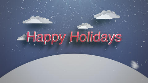 Animated closeup Happy Holidays text, mountains and snowing landscape 애니메이션