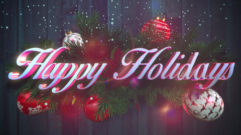 Animated closeup Happy Holidays text, white snowflakes, green Christmas branches on wood background Animation